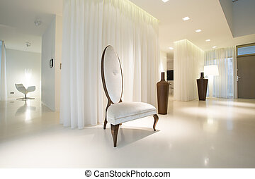 interno, bianco, lusso