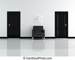 interno, bianco, nero