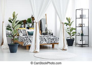 interno, bianco, sofisticato, camera letto