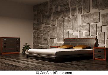 interno, camera letto, 3d