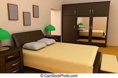 interno, camera letto, comodo, 3d