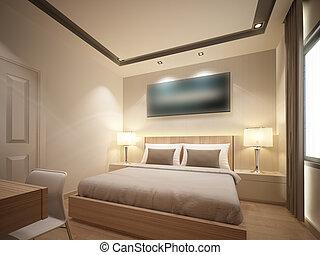 interno, camera letto, render, 3d