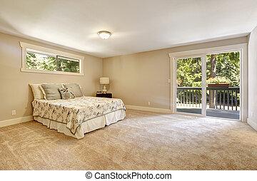 interno, camera letto, spazioso, walkout, ponte