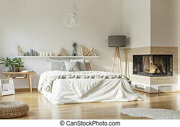 interno, caminetto, spazioso, camera letto