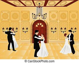 interno, -, cartone animato, sala ballo