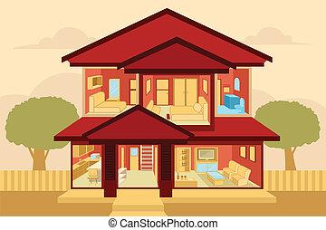 interno, casa, moderno