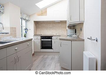 interno, casa, moderno, vuoto, cucina