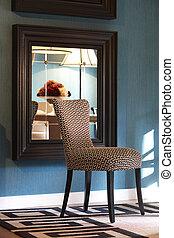 interno, casa, sedia, disegno