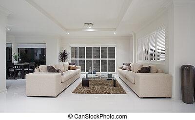 interno, casa, soggiorno, lusso