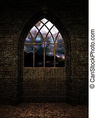 interno, castello, fondo