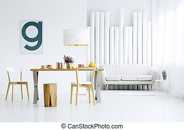 interno, cenando, stanza bianca