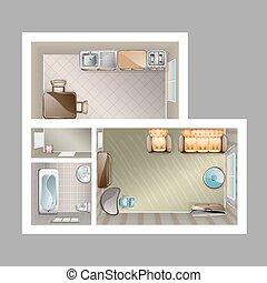interno, cima, appartamento, vista