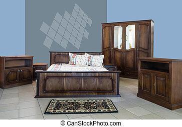interno, classico, disegno, camera letto