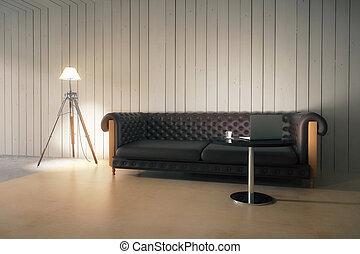interno, con, divano, e, lampada