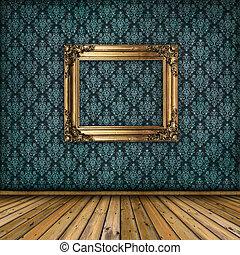 interno, con, dorato, cornice, su, parete