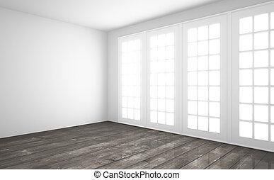 interno, con, pavimento legno