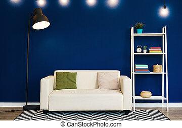 interno, contro, vivente, parete bianca, stanza moderna, divano, blu