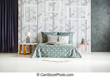 interno, cornici, spazioso, camera letto