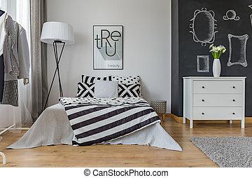interno, creativo, disegno, camera letto
