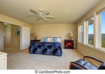 interno, cremoso, lusso, toni, camera letto