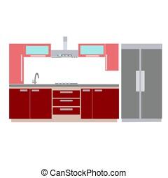 interno, cucina casa, disegno, mobilia
