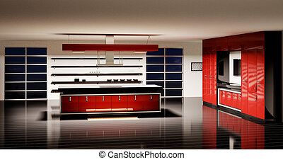 interno, cucina, moderno, render, 3d