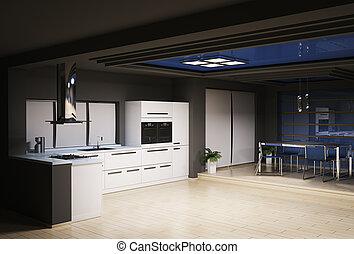 interno, cucina, render, 3d