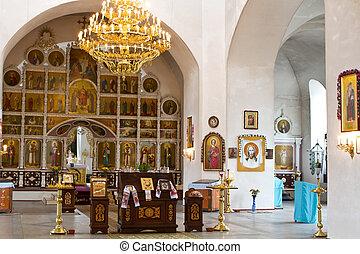 interno, di, il, chiesa ortodossa