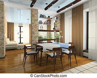 interno, di, il, elegante, appartamento