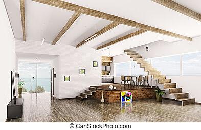 interno, di, moderno, appartamento