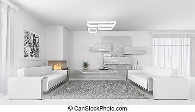 interno, di, moderno, bianco, soggiorno, 3d