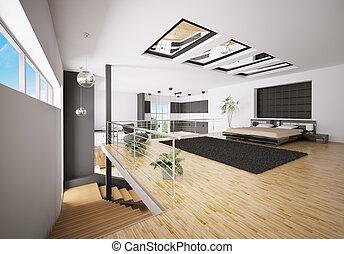 interno, di, moderno, camera letto, 3d