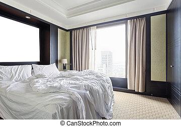 interno, di, moderno, camera letto