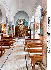 interno, di, ortodosso greco, basilica