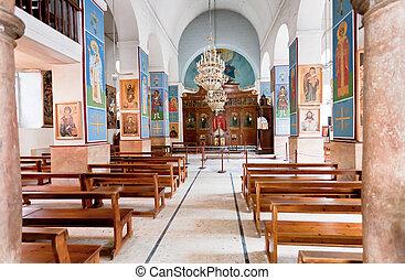 interno, di, ortodosso greco, basilica, di, santo, giorgio