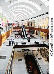 interno, di, uno, centro commerciale