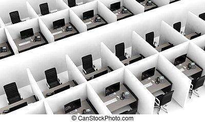 interno, di, uno, moderno, cubicoli ufficio