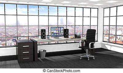interno, di, uno, moderno, ufficio, con, finestra, e, cityscape, vista
