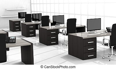 interno, di, uno, moderno, ufficio, con, multiplo, lavorativo, spazi
