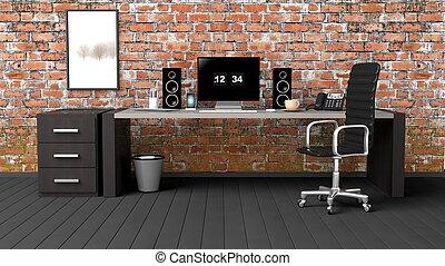 interno, di, uno, moderno, ufficio, con, uno, grunge, muro di mattoni