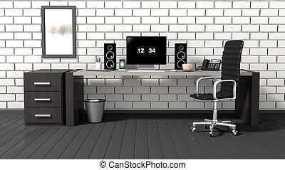 interno, di, uno, moderno, ufficio, con, uno, mattone bianco, parete