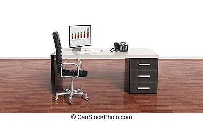 interno, di, uno, moderno, ufficio, con, uno, vuoto, parete bianca