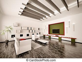 interno, di, vita moderna, stanza, 3d, render