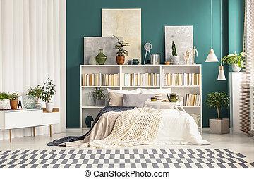interno, dipinti, camera letto
