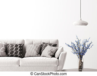 interno, divano, 3d, fondo, interpretazione