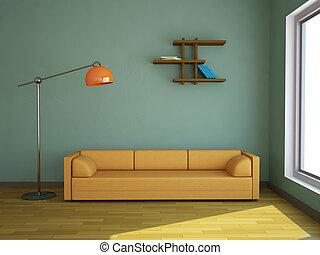 interno, divano, giallo