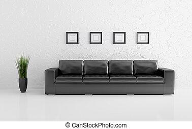 interno, divano, moderno, render, 3d
