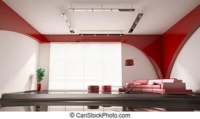interno, divano, moderno, rosso, 3d