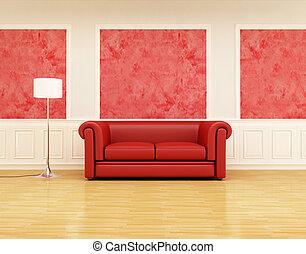 interno, divano, retro, rosso, classico