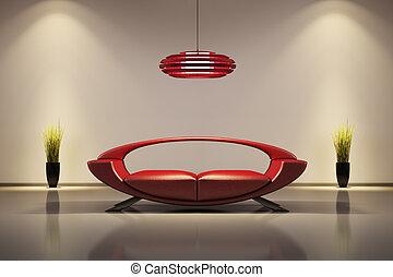 interno, divano, rosso, 3d